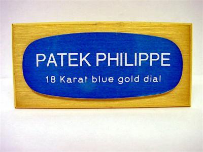 """PATEK PHILIPPE Konzessionär Dekorationsständer """"18 Karat blue gold dial"""""""