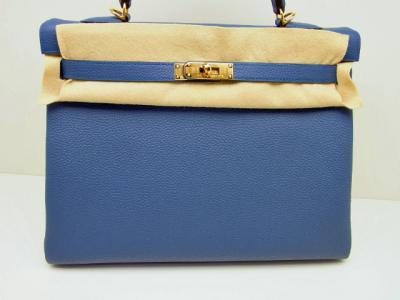 HERMES KELLY BAG 35 Blue Agate mit Gold Hardware