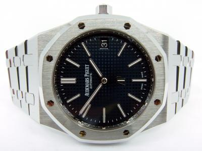 "AUDEMARS PIGUET Jumbo ROYAL OAK Boutique ""blue - AP Logo"" Extra-Thin in Edelstahl"