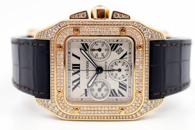 "CARTIER SANTOS Joaillerie 100 XL Chronograph ""Diamond Pavé"" in 18k Roségold"