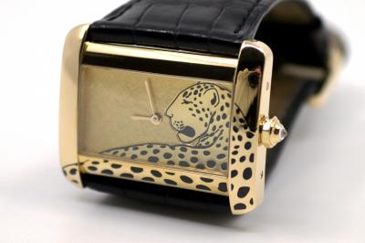 pre owned Limited Cartier Jumbo DIVAN Leopard in 18k Yellowgold