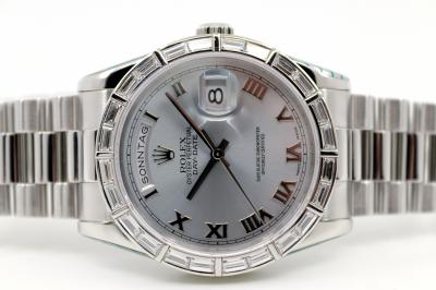 "pre owned ROLEX DAY-DATE ""Baguette"" Chronometer in 950 Platinum"