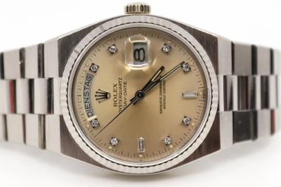 pre owned Rare ROLEX DAY DATE Chronometer OYSTER QUARTZ in 18k Whitegold