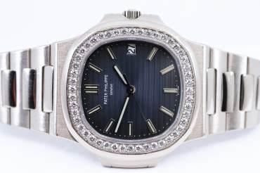 gebraucht PATEK PHILIPPE seltene Jumbo NAUTILUS mit Diamant Lünette - 48 Diamanten ca. 1.50 Carat