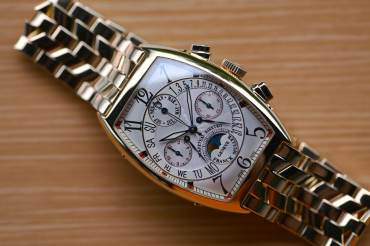 pre owned FRANCK MULLER Master of Complications - Cintrée Curvex Chronograph & Perpetual Calendar with bi-retro Displays