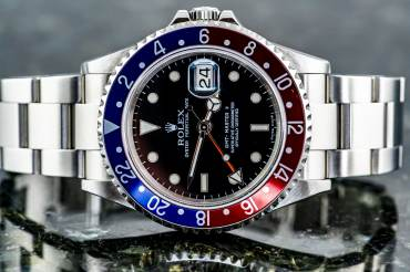 "pre owned ROLEX GMT MASTER II ""Stick Dial"" Chronometer ""PEPSI"" in Steel"
