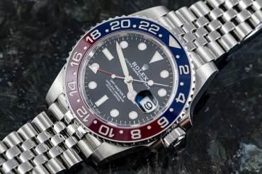 """gebraucht ROLEX GMT MASTER II Chronometer """"PEPSI"""" in Stahl"""
